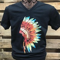 SALE Southern Chics Apparel Indian Head Dress Feathers V-Neck Canvas Girlie Bright T Shirt