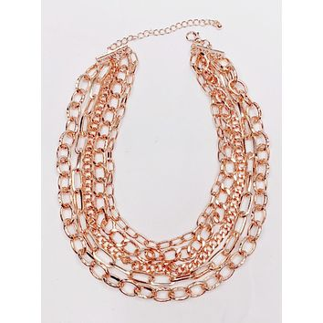 Rose Gold Layered Chain Necklace