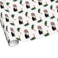 Santa Kitten Holly Christmas Wrapping Paper