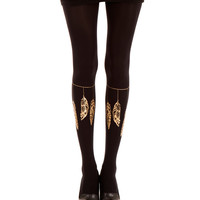 Black Indian Style designed tights, zohara - art on tights