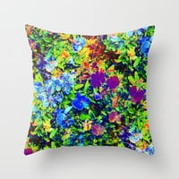 Neon Pansy Garden Throw Pillow by RokinRonda