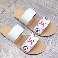 LV Louis Vuitton Sandals Two PU Line Slippers Shoes