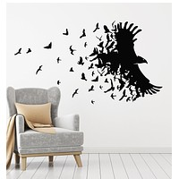 Vinyl Wall Decal Black Raven Birds Flying Patterns Room Home Stickers Mural (g3082)