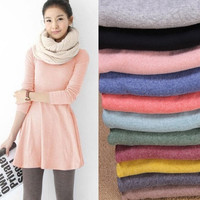 Fashion Clothes Women Dress 2015 Autumn Winter Dress Female 100% Cotton O-neck Long Sleeve Tee T-Shirt Dress = 1705654468