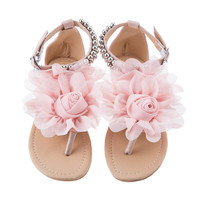 Boho Beaded Summer Beautiful Camellia Flower Sweet Gladiator Sandals For Women Ladies Seaside Beach Flat Heels Flip Flops