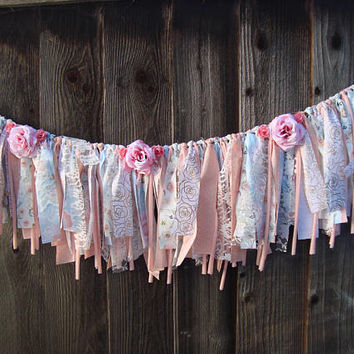 Shabby Chic Coral Pink Garland, Floral Lace Garland, Boho Pink Banner, Nursery Decor, Blue and Coral Wedding Decor, Photo Backdrop Garland