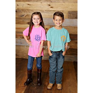 Comfort Colors Kids Short Sleeve Monogrammed Tee