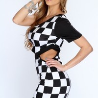 White Black Checkered Print Cutout Clubwear Dress @ Amiclubwear sexy dresses,sexy dress,prom dress,summer dress,spring dress,prom gowns,teens dresses,sexy party wear,women's cocktail dresses,ball dresses,sun dresses,trendy dresses,sweater dresses,teen cl