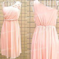 2014 Skin Pink One-shoulder Flower Strapless Short Ruffled Simple Bridesmaid Dress,Knee Length Chiffon Evening Party Prom Homecoming Dress