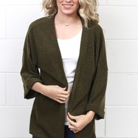 Favorite Knit Kimono Cardigan {Olive} EXTENDED SIZES