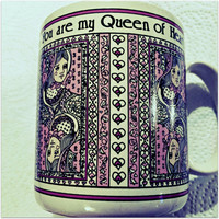 Queen of Hearts  Vintage coffee mug! Pink and white.