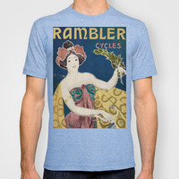 Vintage Rambler Bicycle Woman with Graphic Pops of Color T-shirt by Iconographique