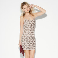 Nude Plaid Sequined Cross Strap Bodycon Mini Dress