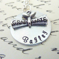 Hand stamped Graduation Gift Personalized Graduate diploma necklace Gift Hand custom necklace