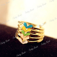 Lovely Candy 5Pcs Alloy Heart Colorful Color FashionLove Multicolor Rings