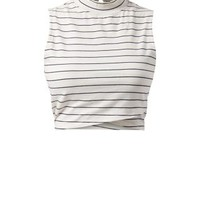 White Stripe High Neck Wrap Hem Crop Top