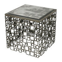 Alvis-Metal And Antique Mirror Side Table