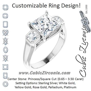 Cubic Zirconia Engagement Ring- The Alana Marie (Customizable 3-stone Cathedral Princess/Square Cut Design with Twin Asscher Cut Side Stones)