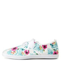 Tropical Print Low-Top Canvas Sneakers