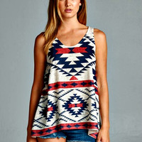 Aztec Printed Sublimation Tank Top