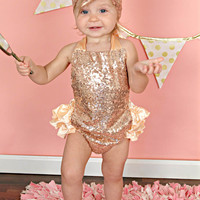 Blush Pink Rose Gold Sequin Sparkle Baby Bubble Ruffle Romper Sun Suit & Headband Set