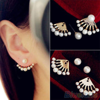 Pearl Front & Back Earrings Studs