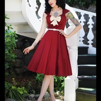 The Heidi Dress in Ruby with Creme Bow | Pinup Girl Clothing