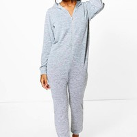 Freya Knitted Zip Front Hooded Onesuit | Boohoo
