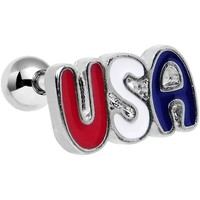 """16 Gauge 1/4"""" Red White and Blue Text USA Tragus Cartilage Earring"""