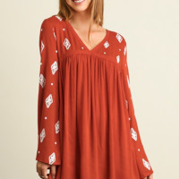 V Neck Babydoll Dress with Embroidery Details