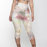 Printed Short Sleeve Bodycon Cropped Top High Waist Pants Set