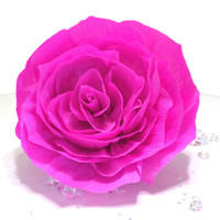 Giant hot pink paper Rose, Crepe paper flower, Giant bouquet flower, Hot pink crepe paper Rose, Large crepe paper flowers, Baby shower decor