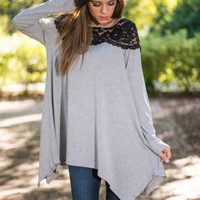 Gray And Black Lace Sleeve Asymmetrical Shirt