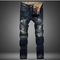 Ripped Holes Men Jeans Slim Rinsed Denim Jeans [6541738947]