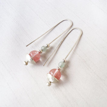 Sterling Silver and Semiprecious Stones Long Earrings - Pale Pink Light Rose Aqua, Silver Earrings - Pastel Colours - Contemporary Jewelry