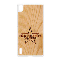 Carved on Wood Effect_Celebrity Hater White Hard Plastic Case for Huawei P7 by Chargrilled
