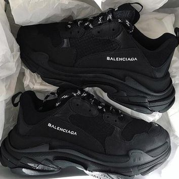 Balenciaga Popular Women Men Casual Pure Black White Letter Sport Running Jogging Shoes Couple Sneakers I