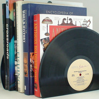 Vinyl Record Bookends - Vintage Vinyl Bookends add charm & warmth to any room.  Recycled vinyl records for the music enthusiast