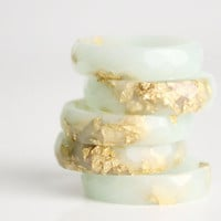 mint gold  size 7.5 thin multifaceted eco resin ring