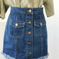 SIENNE DENIM SKIRT- BLUE