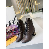 lv louis vuitton trending womens men leather side zip lace up ankle boots shoes high boots 41
