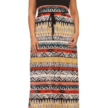Plus Size Animal Abstract Tribal Relaxed Fit Maxi Dress Made in U.S.A