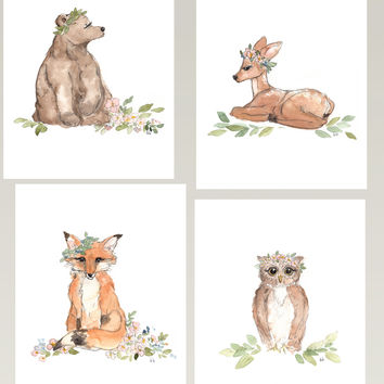 4 Woodland Animals - Watercolor Set