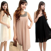 New Women Pregnancy Maternity Gravida Sleeveless Soft Chiffon Pleated Dress = 1946199236