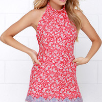 Moroccan the Boat Red Print Halter Dress
