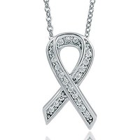 Sterling Silver Necklace Cubic Zirconia CZ Ribbon Pendant #n806