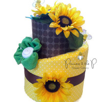Sunflower Topsy Turvy Diaper Cake - Baby Shower, Centerpiece, Baby gift, Bumble Bee, , nursery decor, Sunny, Washcloth flower