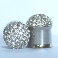 """Crystal Cluster Plugs 2G 0G 00G 7/16"""" 6mm 8mm 10mm 11mm"""