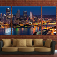 3 Panels Framed city night skyline canvas, wall hanging city skyline
