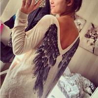 Printed Long-Sleeved T-Shirt Angel Wings